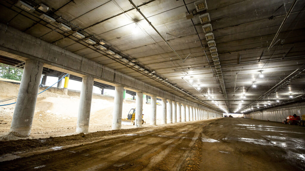 Inside the future, capped section of I-70 that will eventually channel cars below grade through Elyria Swansea. July 28, 2020.
