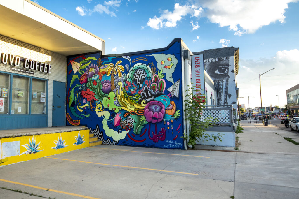 A mural by Rum Tum and Rather Severe on the Dateline Gallery building, 3004 Larimer St. July 29, 2020.