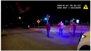A still from an officer-worn camera of the January 6, 2020, shooting of Nico Alexander Descheenie in Aurora.