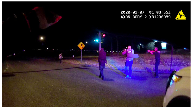 A still from an officer-worn camera of the January 6, 2020, shooting of Nico Alexander Descheenie in Aurora.