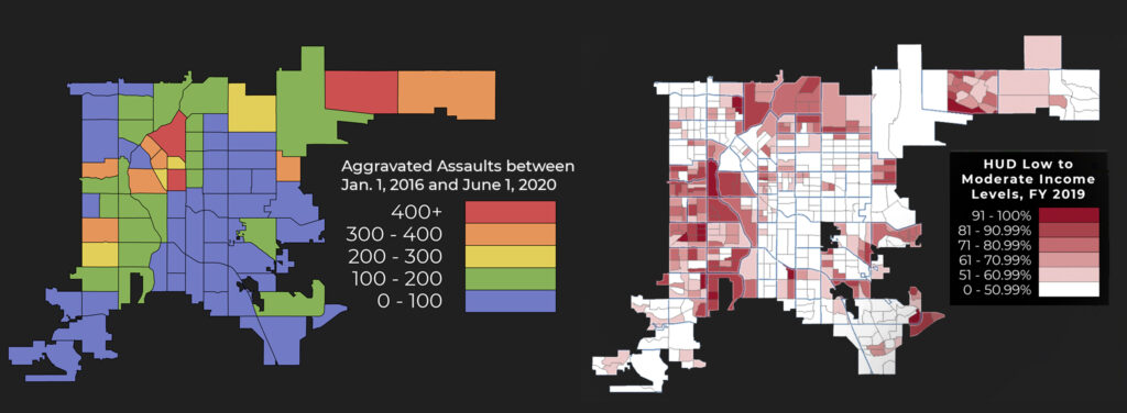 In Denver, higher rates of violent crime occur in neighborhoods where poverty is present.