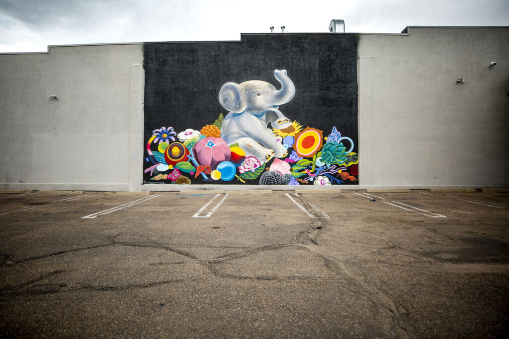 A mural by Joseph Martinez at 5th Avenue and Broadway. Aug. 12, 2020.