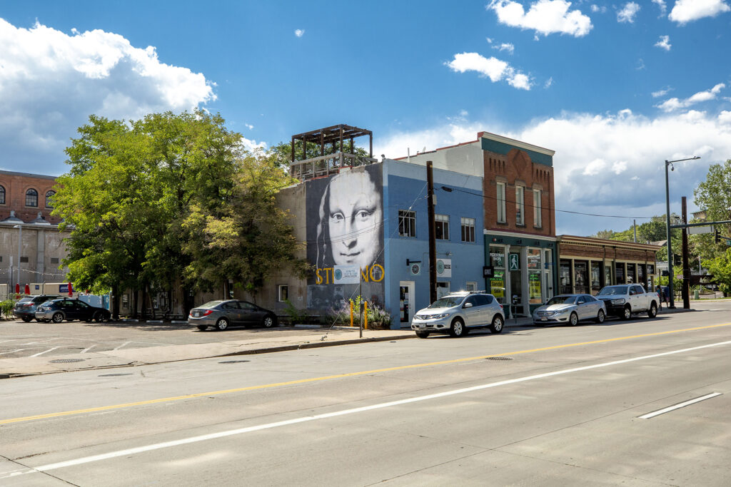 A recreation of the Mona Lisa by Stefano Castronovo at 15th and Platte Streets. Aug. 12, 2020.