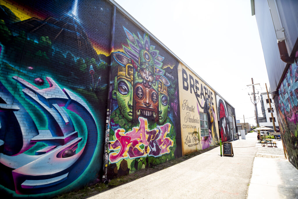 A mural by MPEK on the back of Improper City on Walnut Street in Five Points. Aug. 12, 2020.