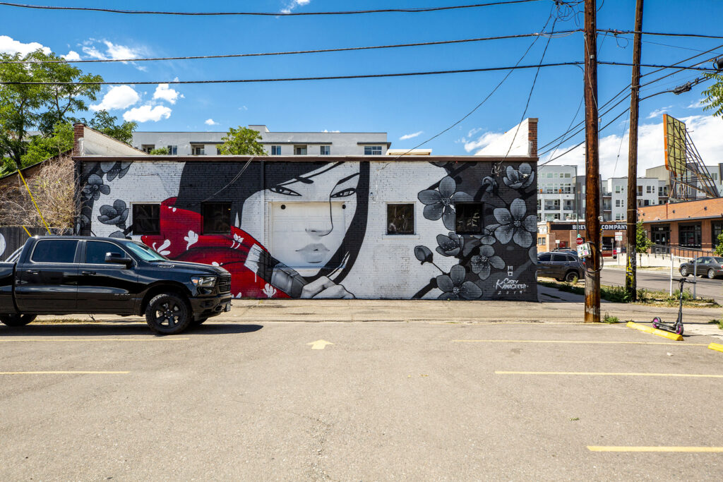 A mural by Casey Kawaguchi in an alley between Walnut and Larimer Streets at 28th Street. Aug. 12, 2020.