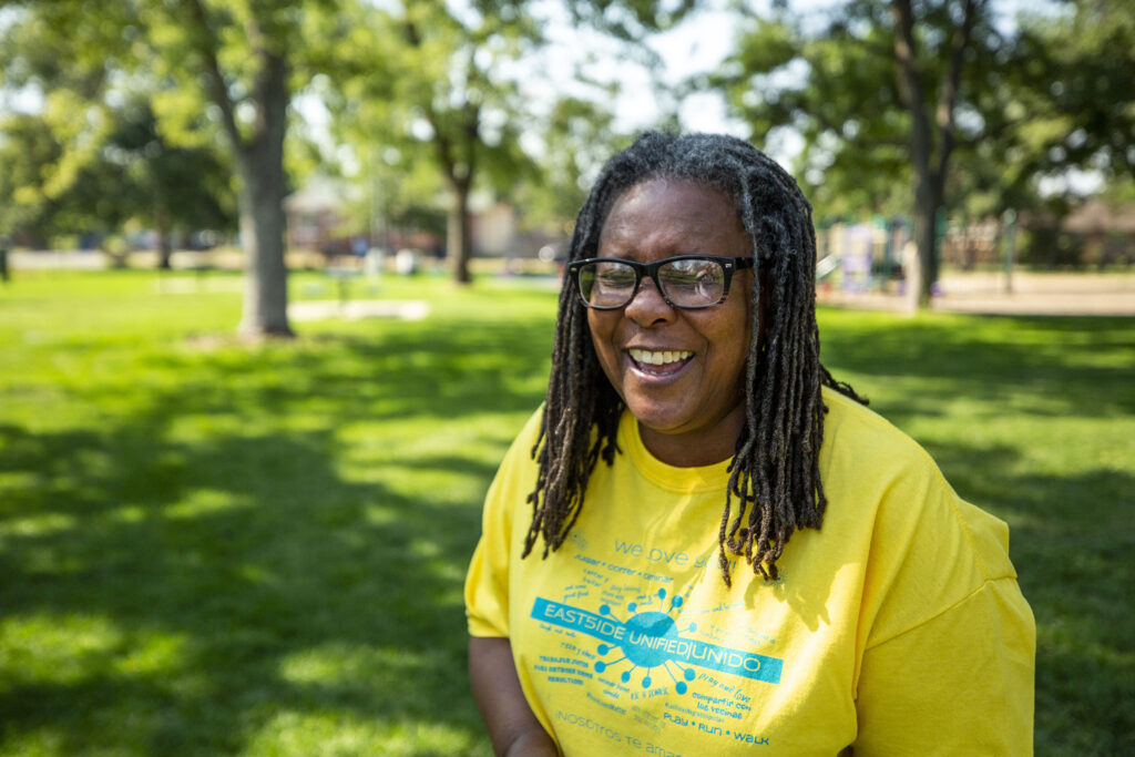 Sandy Douglas stands in her beloved Russell Square Park. Aug. 13, 2020.
