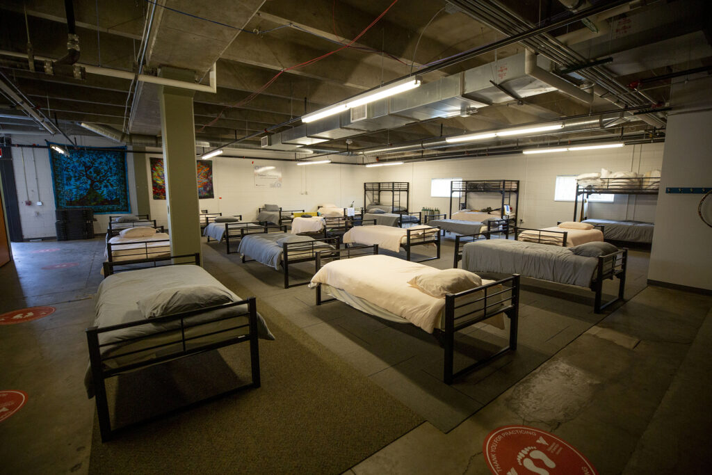 Beds in Sinton's Sanctuary, the shelter for senior women at the Volunteers of America building on Santa Fe Drive in Denver's Lincoln Park neighborhood. Aug. 14, 2020.