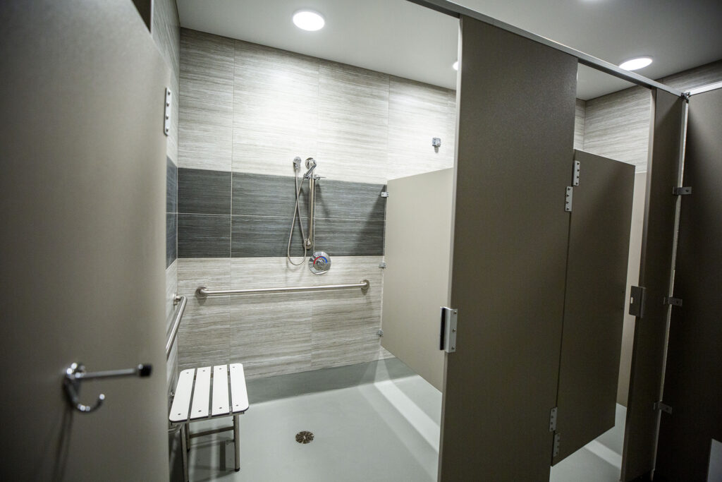 A shower in Sinton's Sanctuary, the shelter for senior women at the Volunteers of America building on Santa Fe Drive in Denver's Lincoln Park neighborhood. Aug. 14, 2020.