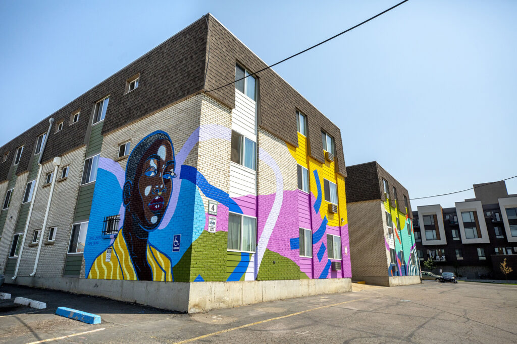 A mural by Lindee Zimmer and Olive Moya on an apartment building at 7100 Hooker St. in Westminster, part of Babe Walls 2020. Aug. 19, 2020.