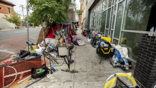 An encampment long 22nd Street, downtown. Aug. 19, 2020.