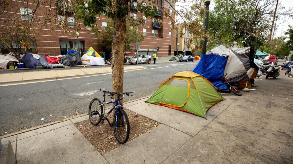 An encampment along 22nd Street, downtown. Aug. 19, 2020.