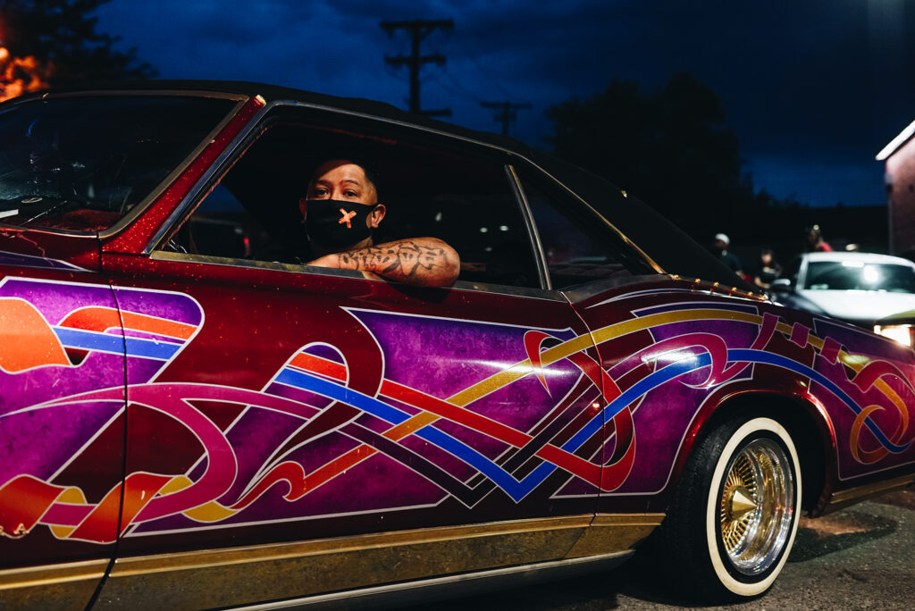 NOT FOR GENERAL USE  A driver in a painted lowrider during a Saturday Night cruise of 38th Avenue. May 23, 2020.
