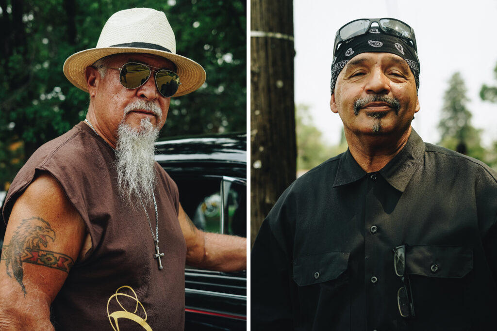 Rico, of the Forgiven Ministry Car Club (left), and Larry Carrillo during the most recent big Federal Boulevard cruise, Aug. 23, 2020.