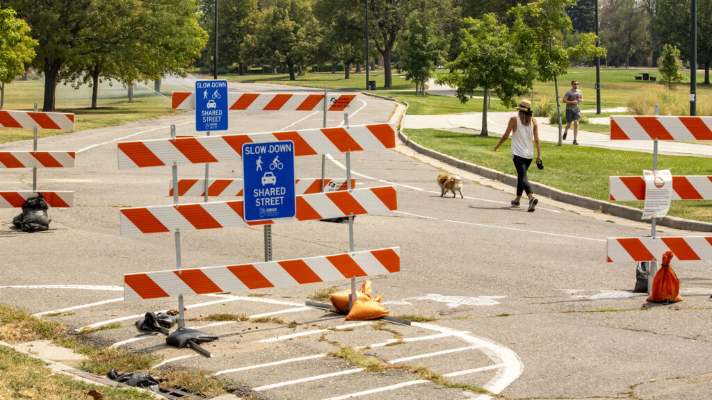 """A """"shared street"""" along Byron Place on the northern edge of Sloan's Lake. Aug. 26, 2020."""