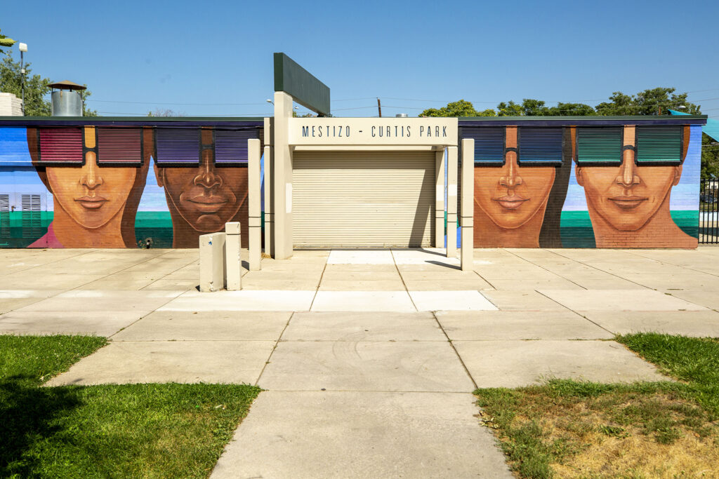 A mural by Emmanuel Martinez at the Mestizo-Curtis Park pool. Aug. 27, 2020.