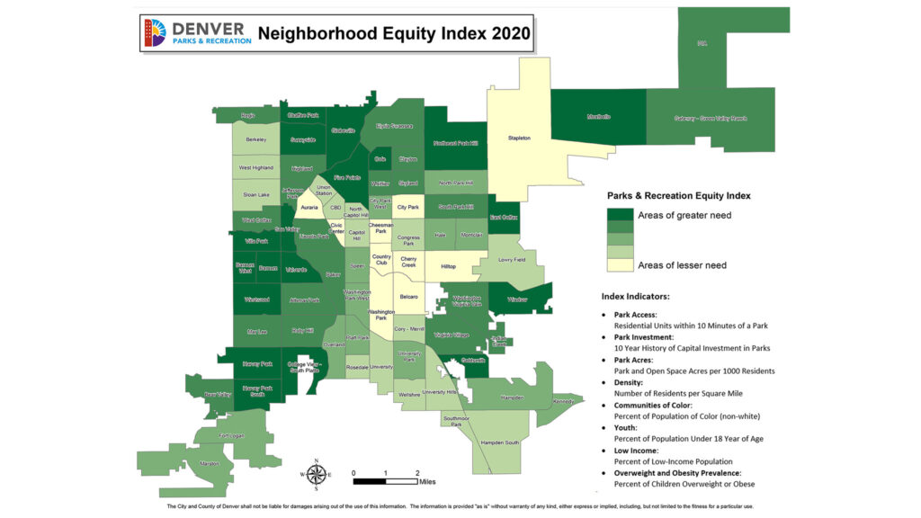A new Parks and Recreation Equity Index map that shows which neighborhoods need the most investment for new and improved parks.