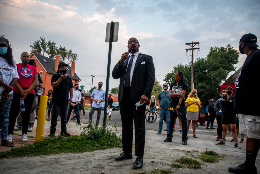 """Democratic Rep. James Coleman of District 7 speaks during the """"Protect Black Men: Colorado Action for Jacob Blake"""" gathering at Manual High School in Denver. Rep. Coleman said he was exhausted trying to do everything the """"right"""" way and it seeming to not make a difference."""