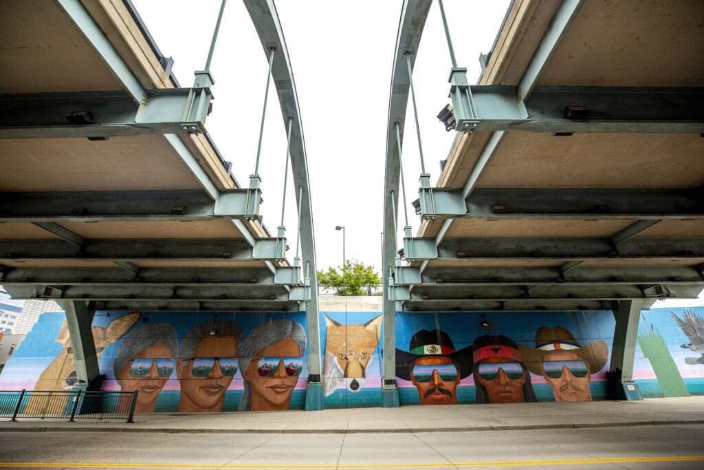 A mural by Emmanuel Martinez beneath Speer Boulevard along Little Raven Street. Sept. 10, 2020.