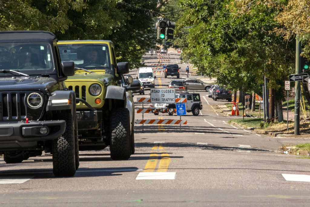 """The signs marking 16th Avenue in North Capitol Hill as a """"shared street"""" have been thinned. So how's that working out? Sept. 1, 2020."""
