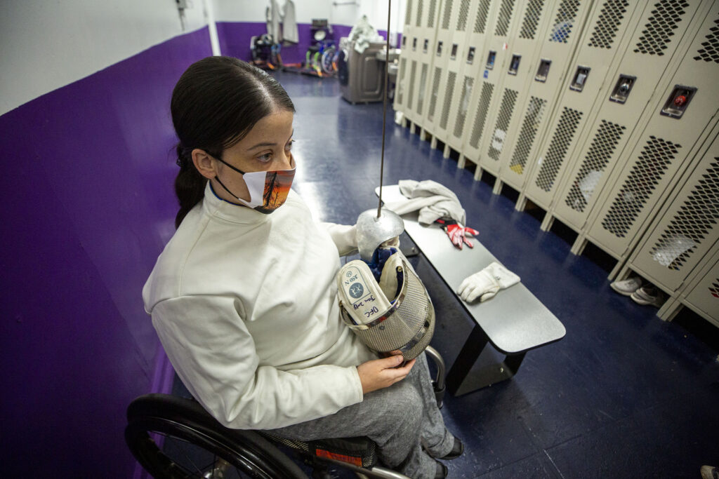 Rachel Malone waits to spar during training at the Denver Fencing Center in Ruby Hill.  Sept. 10, 2020.