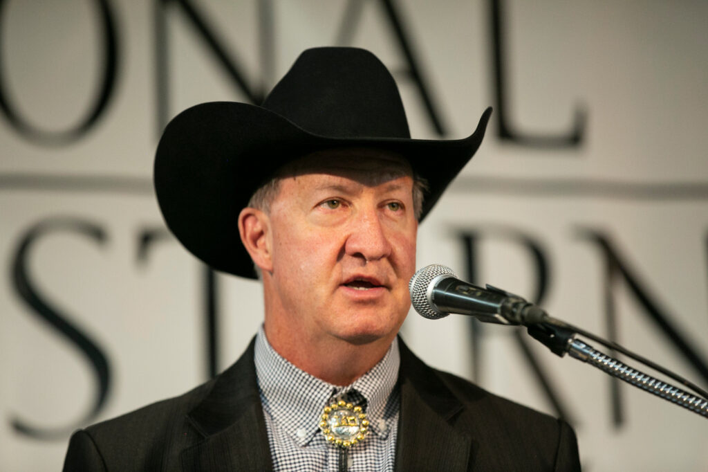 The National Western Stock Show in Denver has been called off for 2021 because of the coronavirus pandemic. The event typically draws about 700,000 attendees annually during its two-week run in January, stock show officials say. It was established in 1906. Paul Andrews, president and CEO of the National Western Stock Show, speaks to reporters Monday, Sept. 14, 2020.
