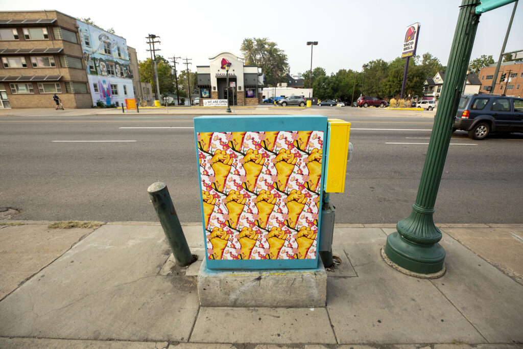 """""""Colfax Strong"""" art on a East Colfax Avenue electric box. Sept. 16, 2020."""