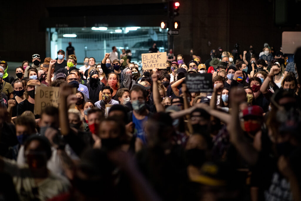Hundreds of demonstrators gather in Denver on Sept. 23 during a rally for Breonna Taylor after a grand jury announced charges against one of the officers involved in her shooting death.