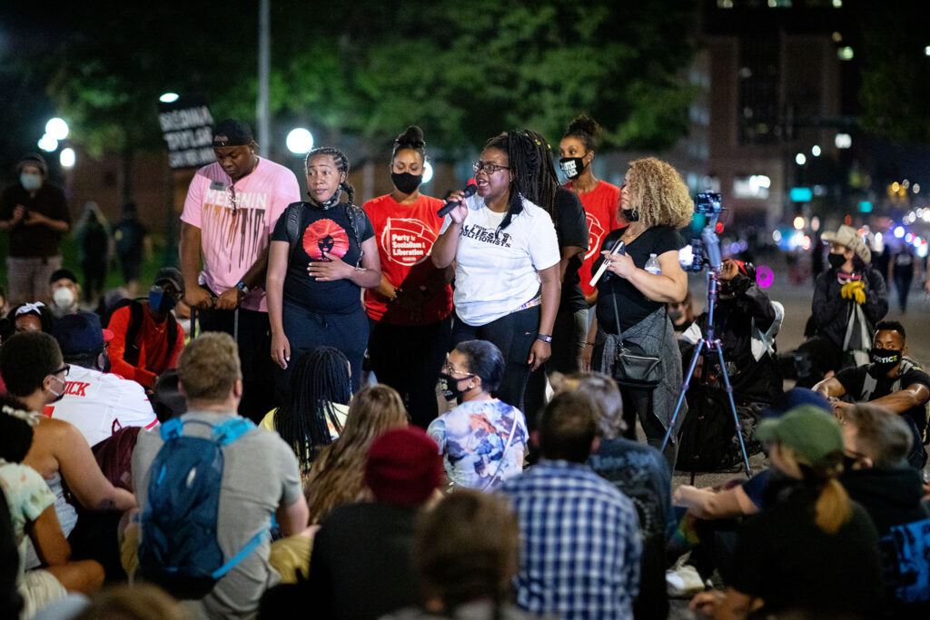 RTD Board Member, Shontel Lewis, speaks to the crowd in Denver on Sept. 23 during a rally for Breonna Taylor after a grand jury announced charges against one of the officers involved in her shooting death.