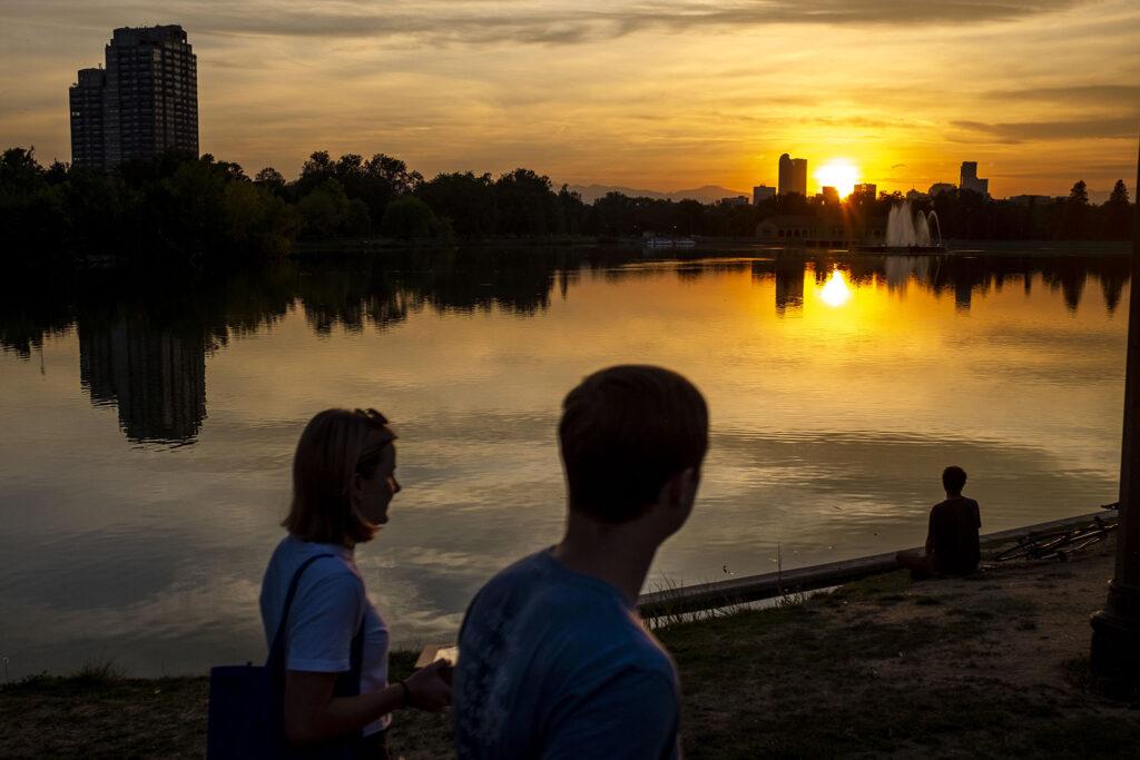 Sunset over Ferril Lake in City Park. Sept. 25, 2020.