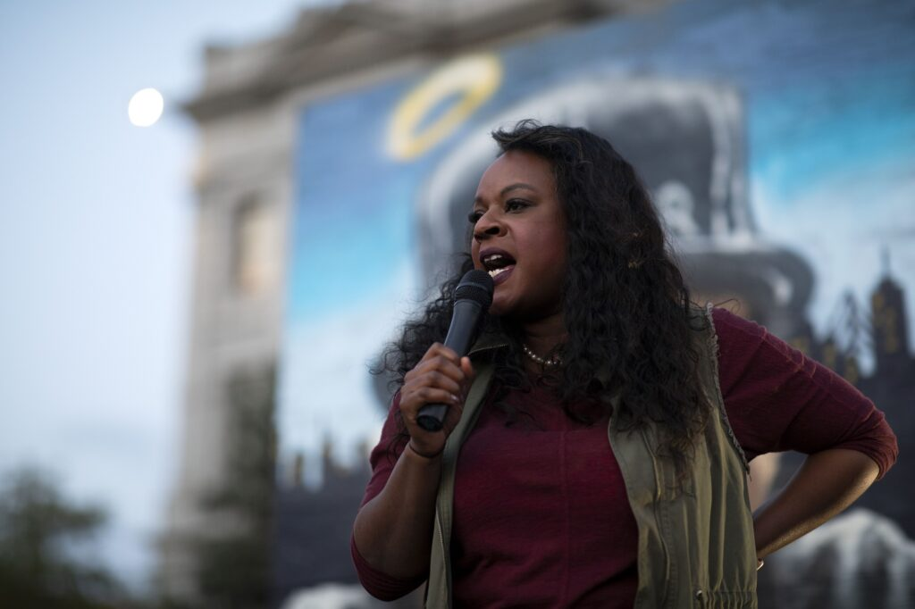 State Rep. Leslie Herod speaks to a crowd at a gathering outside the State Capitol on Sept. 23, 2020, following a Kentucky grand jury's decision in the Breonna Taylor case.