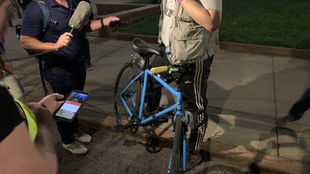 A woman who told reporters her name is Kate was hit by a driver following a protest for Breonna Taylor on Sept. 23, 2020.