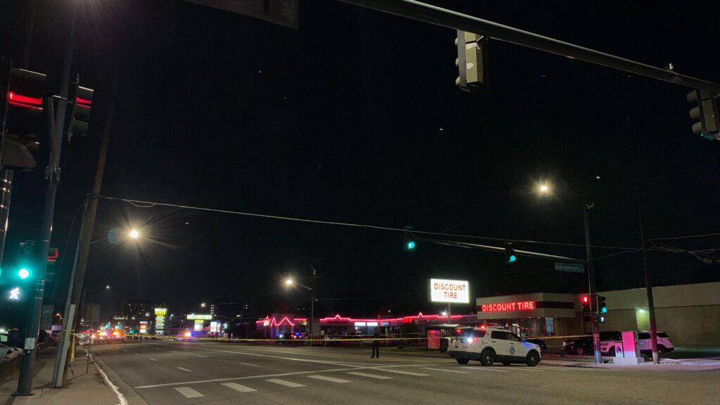 A Denver police cruiser parked on Colorado Boulevard near the scene of a cop shooting on Tuesday, Sept. 15, in Denver. (Esteban L. Hernandez/Denverite)
