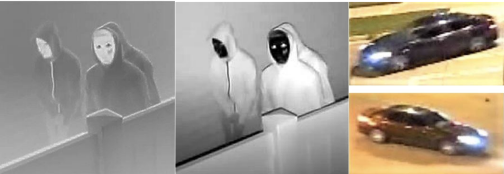 Denver police believe the newly released image, center, is a more accurate depiction of the suspects than the original image on the left. (Courtesy, Denver Police Department)