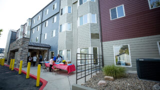 Mercy Housing gives out laptops at their Decatur Place Apartments in Sun Valley. Oct. 1, 2020.