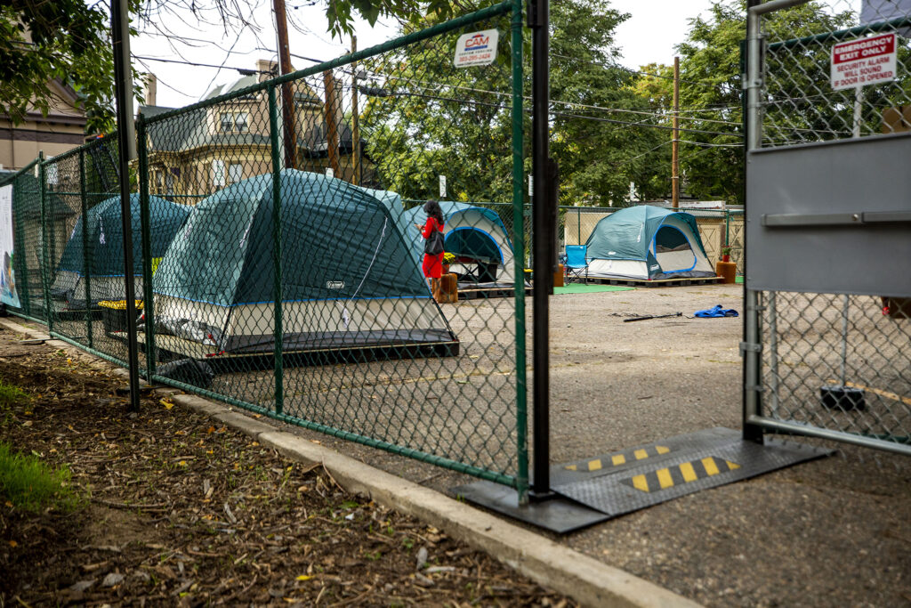A mock-up of a sanctioned urban campsite in the parking lot of Belong Church in North Capitol Hill. Oct. 2, 2020.