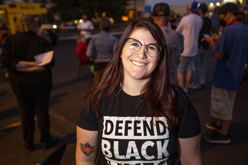Social worker Lindsay Bendell, who helpedfound Solutions for Achieving Fast, Effective Response, or SAFER, to address homelessness in suburbs that don't have Denver's shelters and other resources, on Oct. 6, 2020. (Kevin J. Beaty/Denverite)