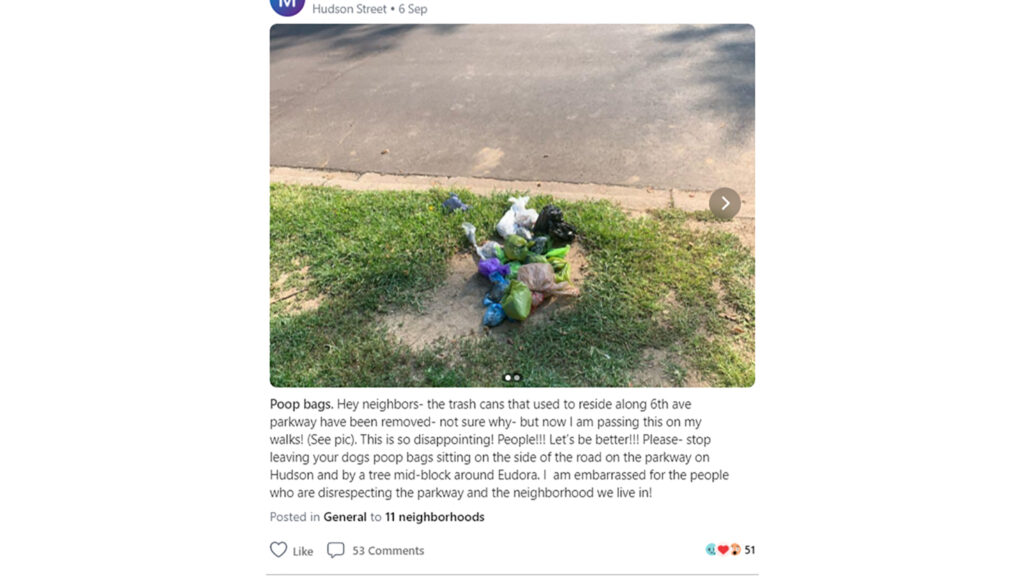 People were talking (about) trash on Nextdoor.