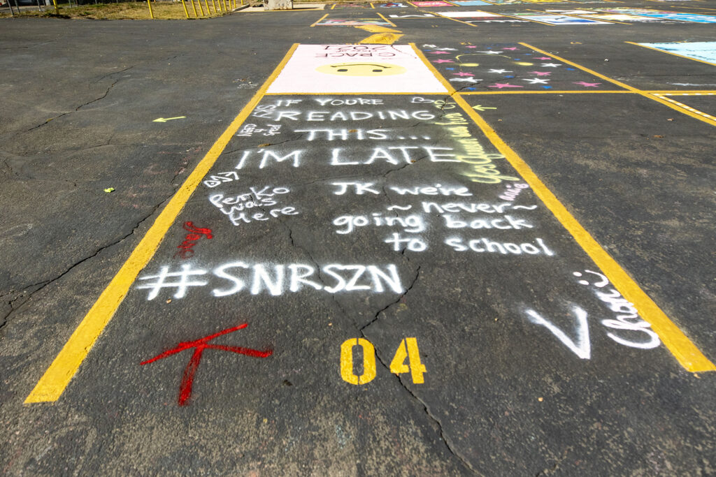 Parking space number four at East High School. Oct. 16, 2020.