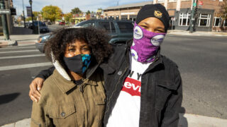 Katelyn Trujillo and Moses Malavet when Denver's tighter rules on face coverings were announced in October 2020.