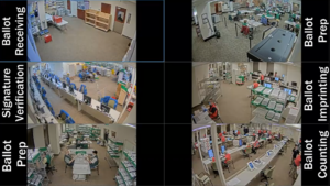 Screengrab of a Denver Elections video feed of people getting ready to verify and count ballots.