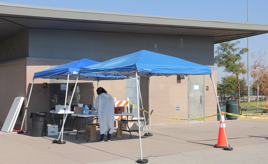 A free COVID-19 community testing site in Montbello on Tuesday, Oct. 6, 2020. (Esteban L. Hernandez)
