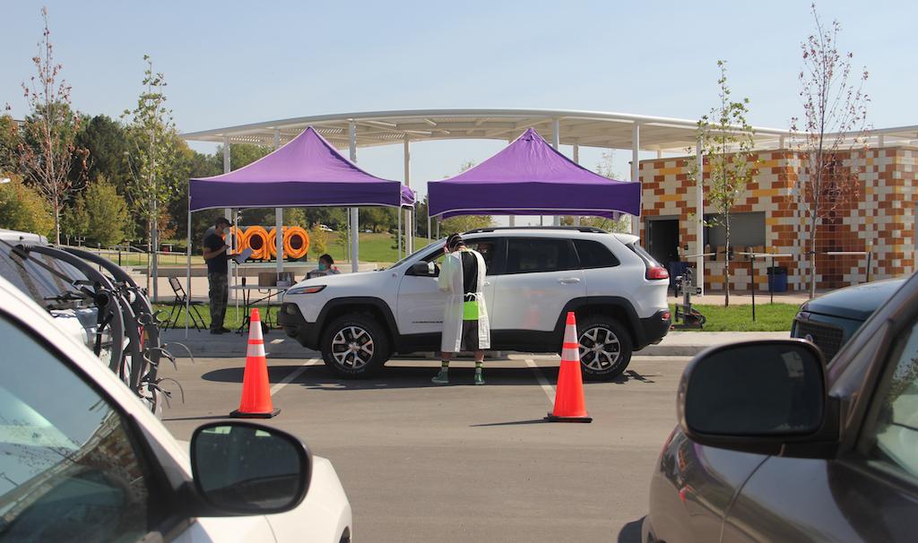 A coronavirus community testing site run by the city on Thursday, Oct. 1, 2020, at Paco Sanchez Park in Denver. (Esteban L. Hernandez/Denverite)