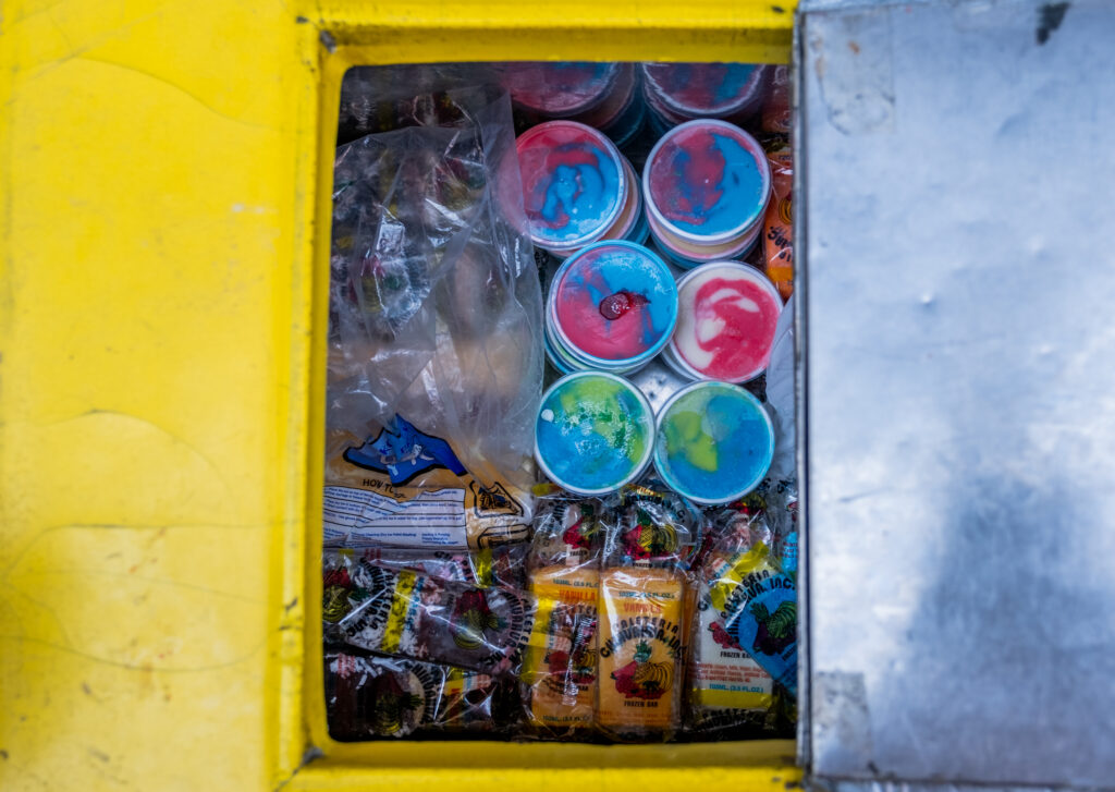 The contents of Delgado's cart are still cold and colorful after a half day of work in the heat on Oct. 8, 2020. The carts can hold around 300 paletas.