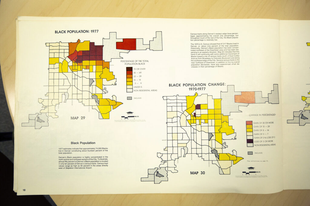 A page of the 1970-1977 Denver Atlas, one of the first major studies of the city after its statistical neighborhoods were developed.