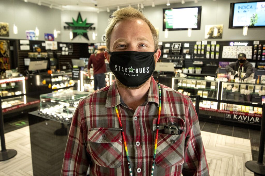 Star Buds COO Josh Riggs in the dispensary chain's location on Arapahoe Road in Aurora. Oct. 29, 2020.