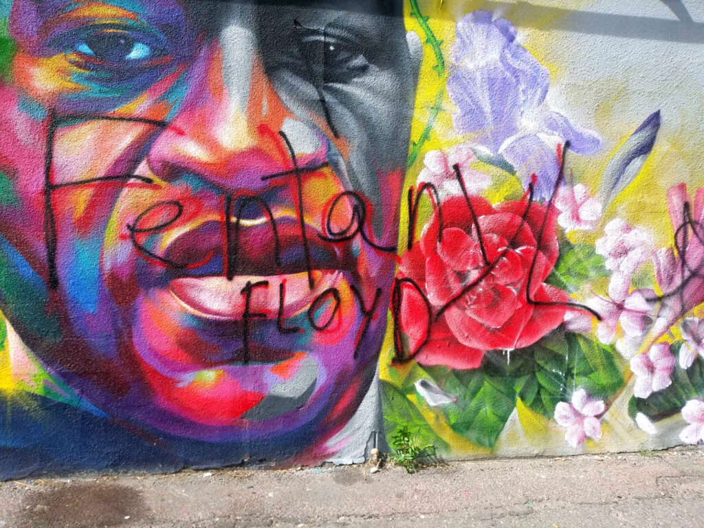 Craig Boucher, who works for Ready Temporary Service, took this photo of the defaced mural on Oct. 14, 2020.