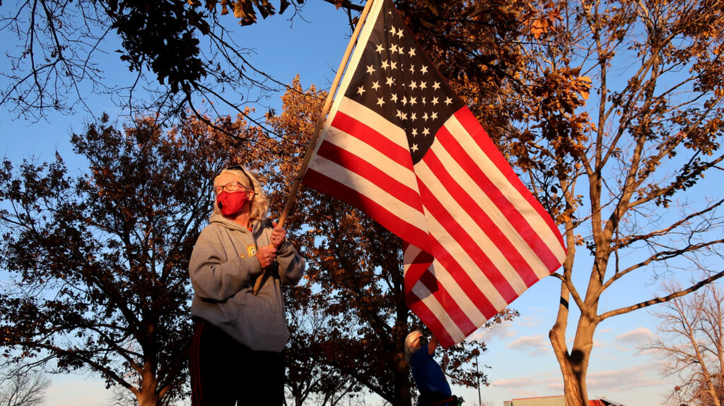 "A rally to ""count every vote"" in Arvada. Nov. 4, 2020. (Jenny Brundin/CPR News)"