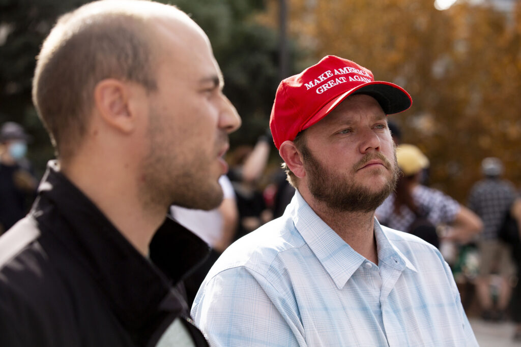Alex Franceski (right) and Joe Andres came to the Colorado state Capitol to express their frustration with what they said was an unfair election in favor of Joe Biden. Nov. 7, 2020.