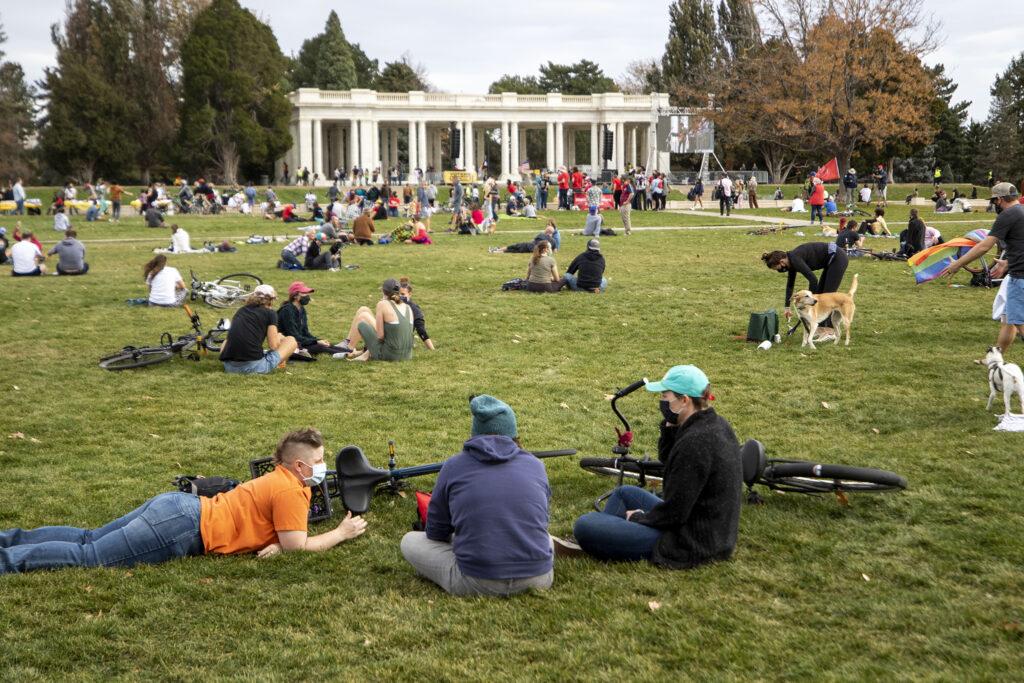 Denverites gathered at Cheesman Park celebrate Joe Biden's victory in the U.S. presidential election. Nov. 7, 2020.