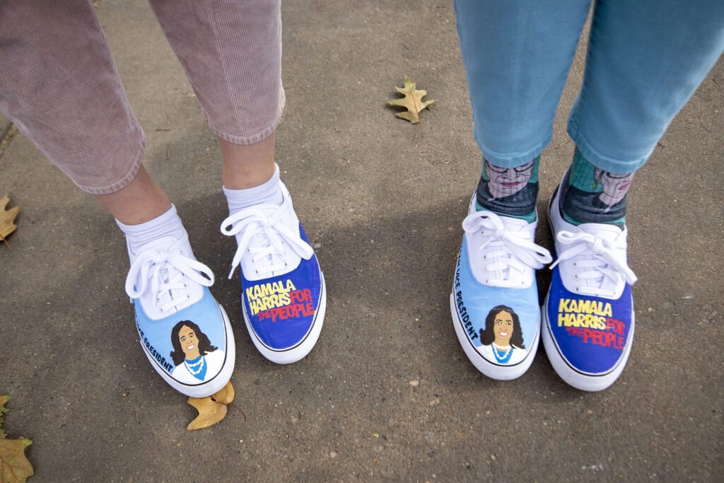 Kate Napier made these shoes for herself and her mom, Carol, and wore them to the Capitol to celebrate Joe Biden's victory in the U.S. presidential election. Nov. 7, 2020.